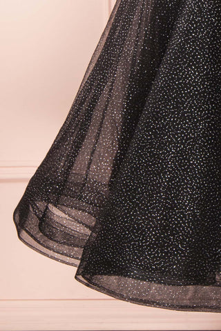 Kenyka Black & Silver Glitter A-Line Party Dress | BOTTOM CLOSE UP | Boutique 1861