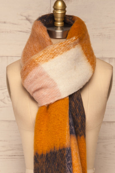 Kepice Fall Colorful Soft Scarf with Fringe | La Petite Garçonne loop through close-up