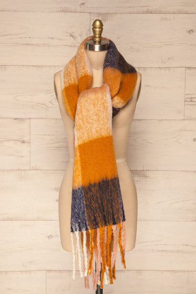 Kepice Fall Colorful Soft Scarf with Fringe | La Petite Garçonne front tie view
