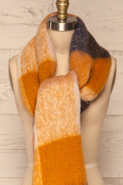 Kepice Fall Colorful Soft Scarf with Fringe | La Petite Garçonne front tie close-up