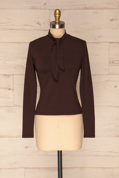 Kepno Brun Brown Top w/ Tied Stand Collar | La Petite Garçonne front view