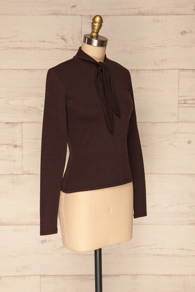 Kepno Brun Brown Top w/ Tied Stand Collar | La Petite Garçonne side view