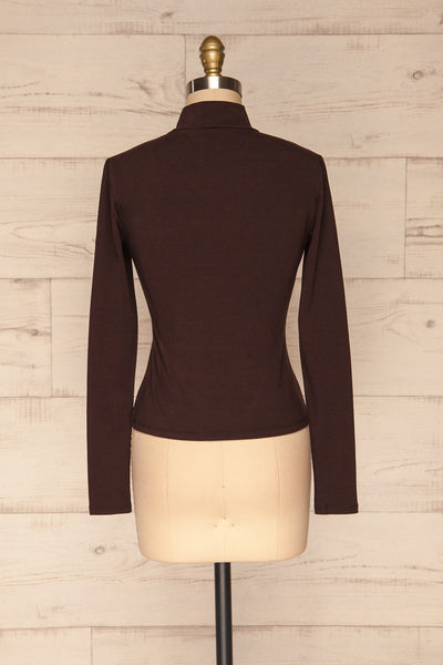 Kepno Brun Brown Top w/ Tied Stand Collar | La Petite Garçonne back view