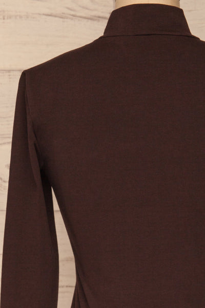 Kepno Brun Brown Top w/ Tied Stand Collar | La Petite Garçonne back close-up