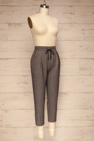 Kerames Cropped Grey Drawstring Pants | La petite garçonne side view