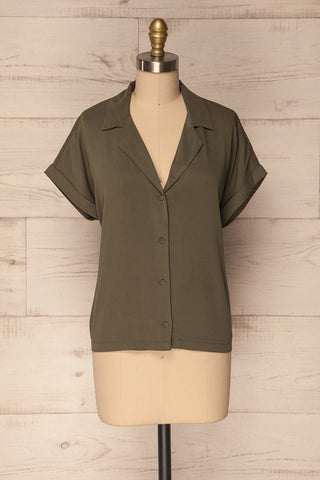 Kerion Moss Loose Green Button-Up Shirt | La Petite Garçonne