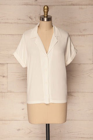 Kerion Snow Loose White Button-Up Shirt | La Petite Garçonne