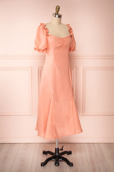 Ketayap Coral Pink Midi Dress w/ Puffy Sleeves | Boutique 1861 side view