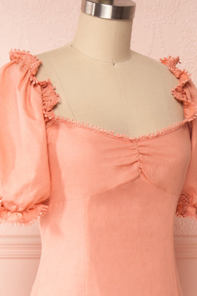 Ketayap Coral Pink Midi Dress w/ Puffy Sleeves | Boutique 1861 side close up
