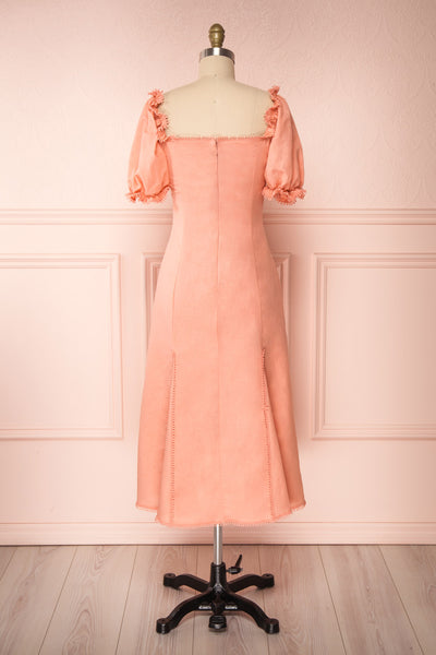 Ketayap Coral Pink Midi Dress w/ Puffy Sleeves | Boutique 1861 back view