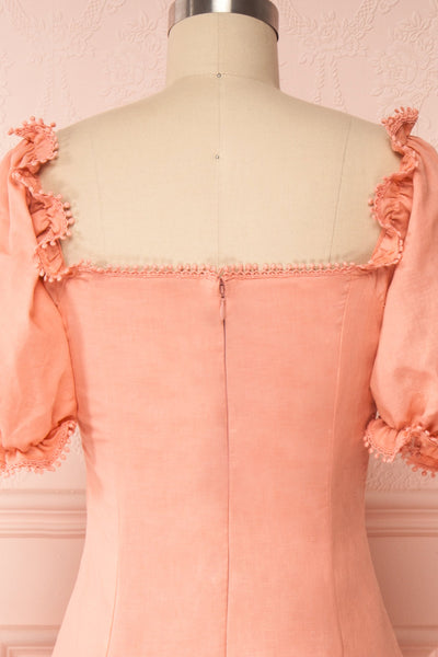 Ketayap Coral Pink Midi Dress w/ Puffy Sleeves | Boutique 1861 back close up