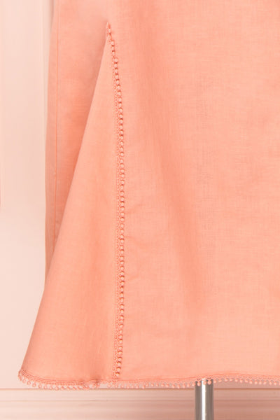 Ketayap Coral Pink Midi Dress w/ Puffy Sleeves | Boutique 1861 skirt