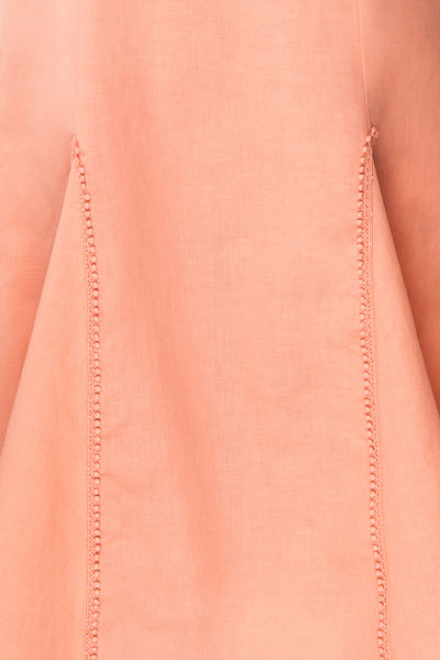 Ketayap Coral Pink Midi Dress w/ Puffy Sleeves | Boutique 1861 fabric