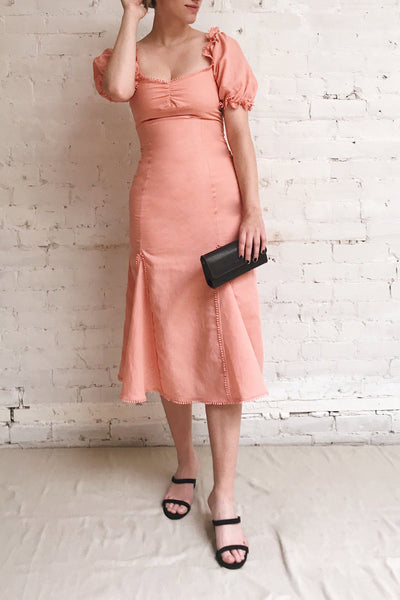 Ketayap Coral Pink Midi Dress w/ Puffy Sleeves | Boutique 1861 model look