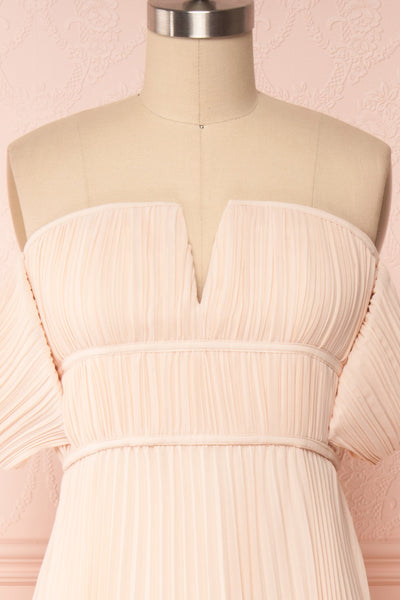 Khalida Light Pink Pleated Maxi Dress front close up | Boudoir 1861