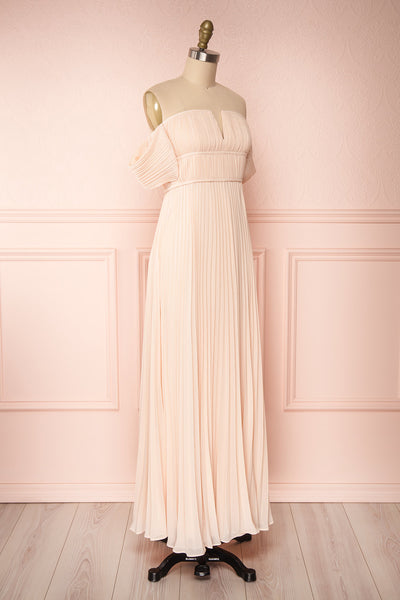 Khalida Light Pink Pleated Maxi Dress side view | Boudoir 1861