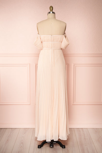 Khalida Light Pink Pleated Maxi Dress back view | Boudoir 1861