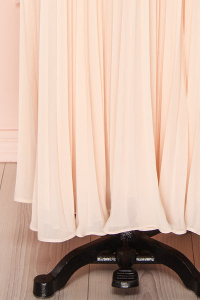 Khalida Light Pink Pleated Maxi Dress skirt | Boudoir 1861