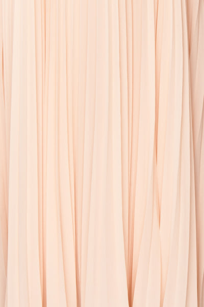Khalida Light Pink Pleated Maxi Dress fabric | Boudoir 1861