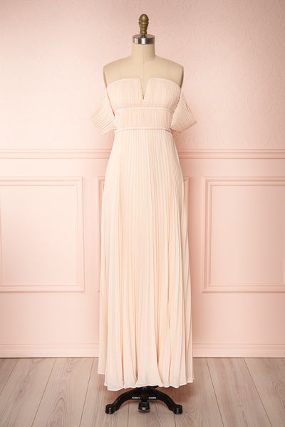 Khalida Light Pink Pleated Maxi Dress | Boudoir 1861