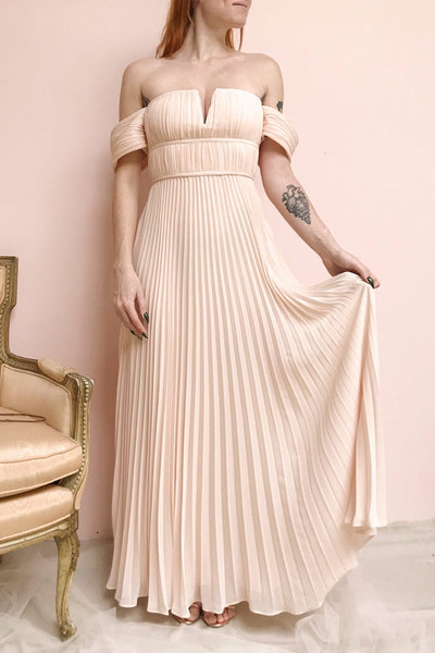 Khalida Light Pink Pleated Maxi Dress | Boudoir 1861 model