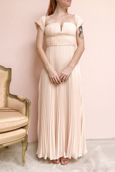 Khalida Light Pink Pleated Maxi Dress | Boudoir 1861 model look
