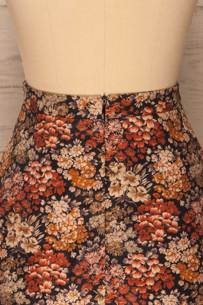 Kharkiv Black Floral Print Short Skirt | La petite garçonne  back close-up