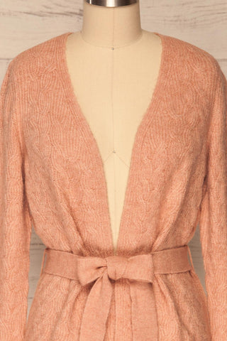 Kielce Rose Pink Knit Cardigan | La Petite Garçonne front close-up