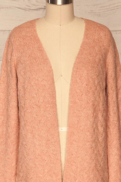 Kielce Rose Pink Knit Cardigan | La Petite Garçonne front close-up open