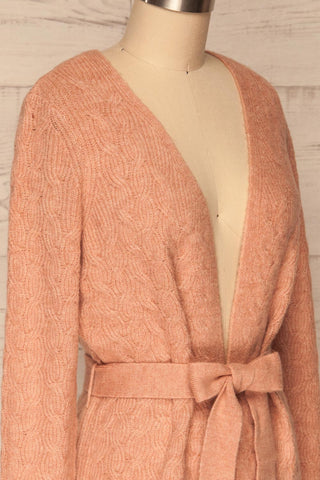 Kielce Rose Pink Knit Cardigan | La Petite Garçonne side close-up