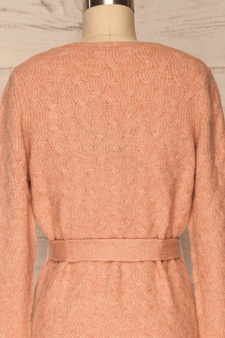 Kielce Rose Pink Knit Cardigan | La Petite Garçonne back close-up
