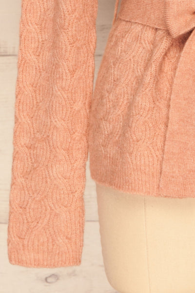 Kielce Rose Pink Knit Cardigan | La Petite Garçonne bottom close-up