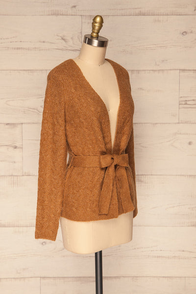 Kielce Tabac Brown Knit Cardigan | La Petite Garçonne side view