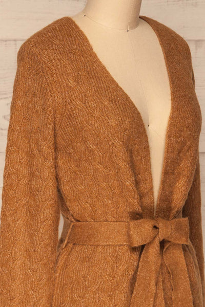 Kielce Tabac Brown Knit Cardigan | La Petite Garçonne side close-up