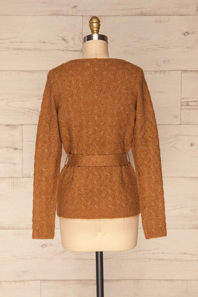 Kielce Tabac Brown Knit Cardigan | La Petite Garçonne back view