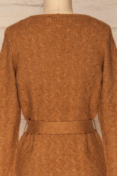Kielce Tabac Brown Knit Cardigan | La Petite Garçonne back close-up