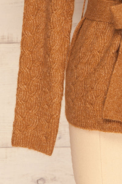 Kielce Tabac Brown Knit Cardigan | La Petite Garçonne bottom close-up