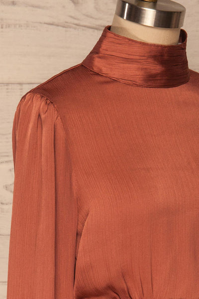 Kiell Clay Pink Open Back Silky Blouse | La petite garçonne  side close up