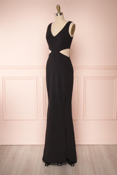 Kiira Black Cut-Outs Mermaid Gown | Boudoir 1861 side view