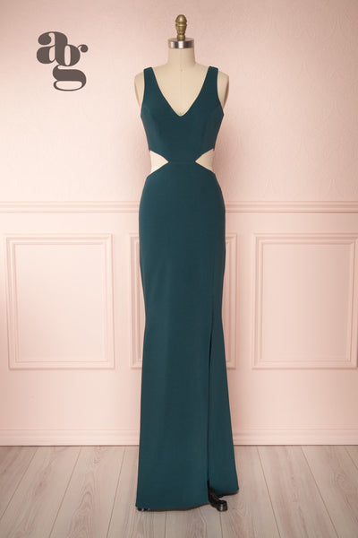 Kiira Emerald Green Cut-Outs Mermaid Gown | Boudoir 1861 bottom