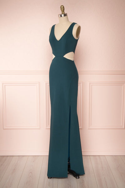 Kiira Emerald Green Cut-Outs Mermaid Gown | Boudoir 1861 side view