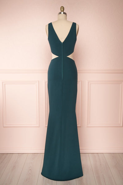 Kiira Emerald Green Cut-Outs Mermaid Gown | Boudoir 1861 back view