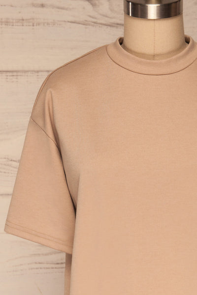 Kilkenny Beige T-Shirt Dress | La petite garçonne front close up