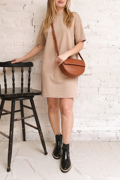 Kilkenny Beige T-Shirt Dress | La petite garçonne on model