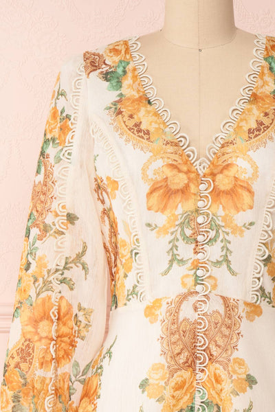 Kimanie Yellow Floral Patterned A-Line Dress front close up | Boutique 1861
