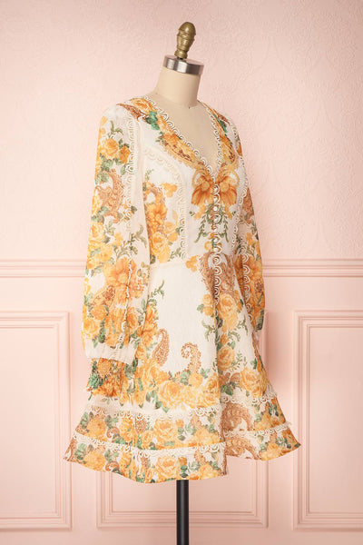 Kimanie Yellow Floral Patterned A-Line Dress side view | Boutique 1861