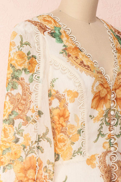 Kimanie Yellow Floral Patterned A-Line Dress side close up | Boutique 1861