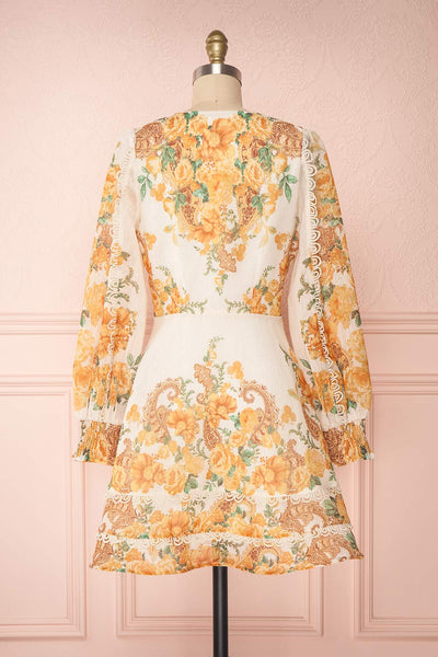 Kimanie Yellow Floral Patterned A-Line Dress back view | Boutique 1861