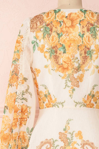 Kimanie Yellow Floral Patterned A-Line Dress back close up | Boutique 1861