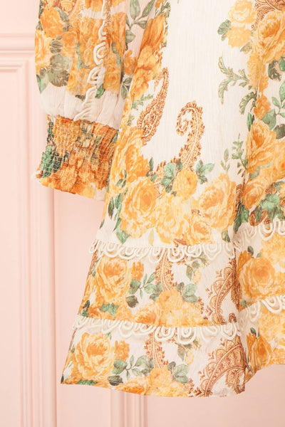 Kimanie Yellow Floral Patterned A-Line Dress sleeve close up | Boutique 1861